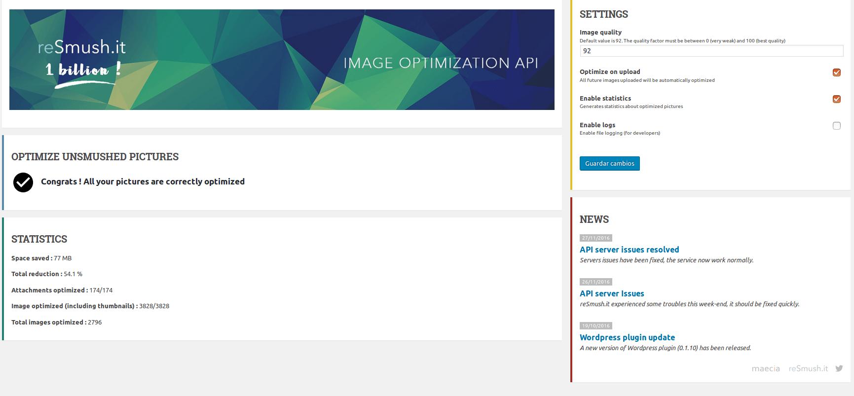 Plugin optimizar imágenes WordPress Resmush.it