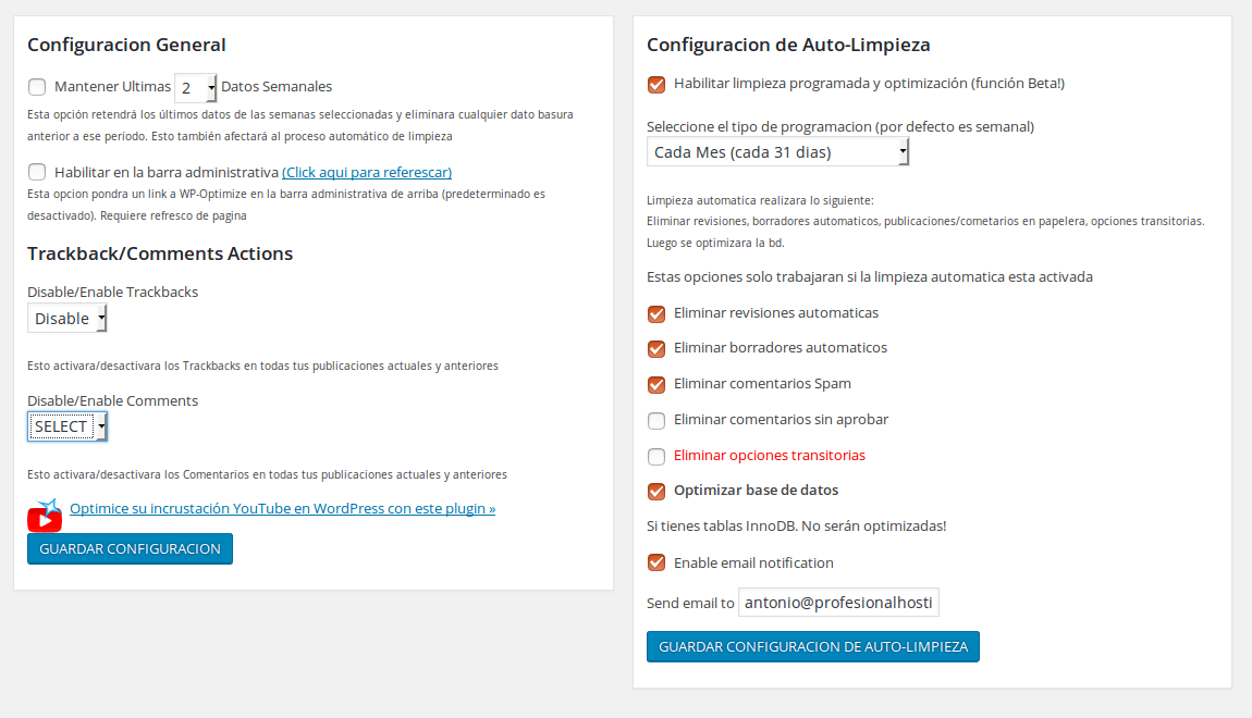 plugin optimizar base de datos WordPress