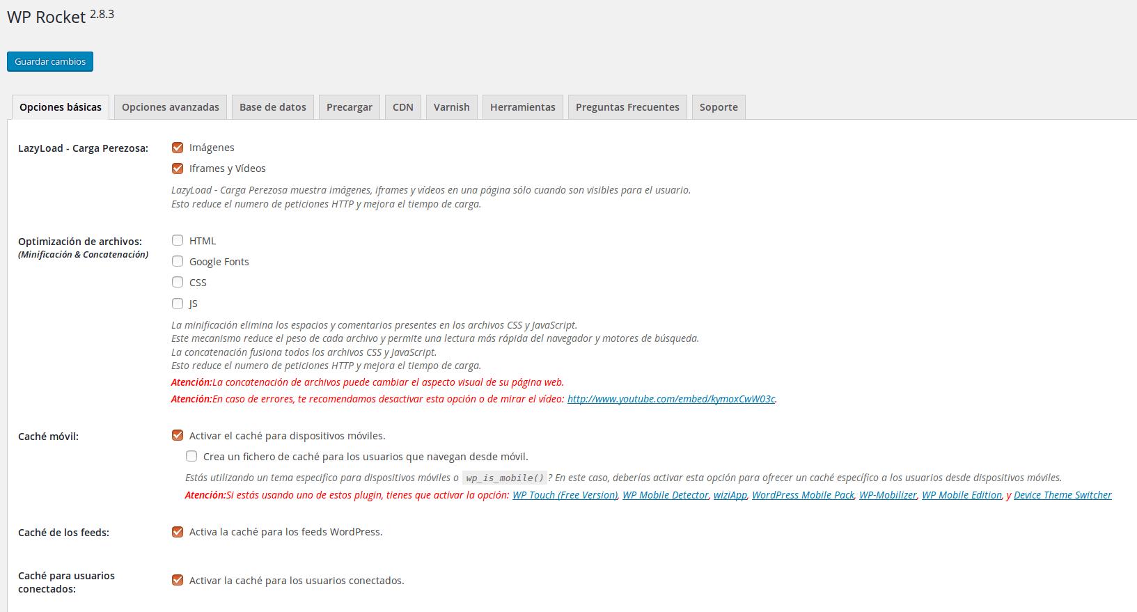 Plugin cache WordPress Wp Rocket