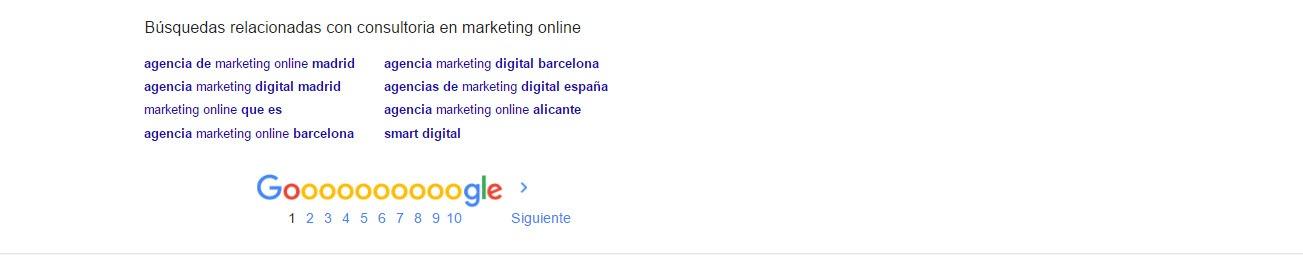 google suggest pie de pagina