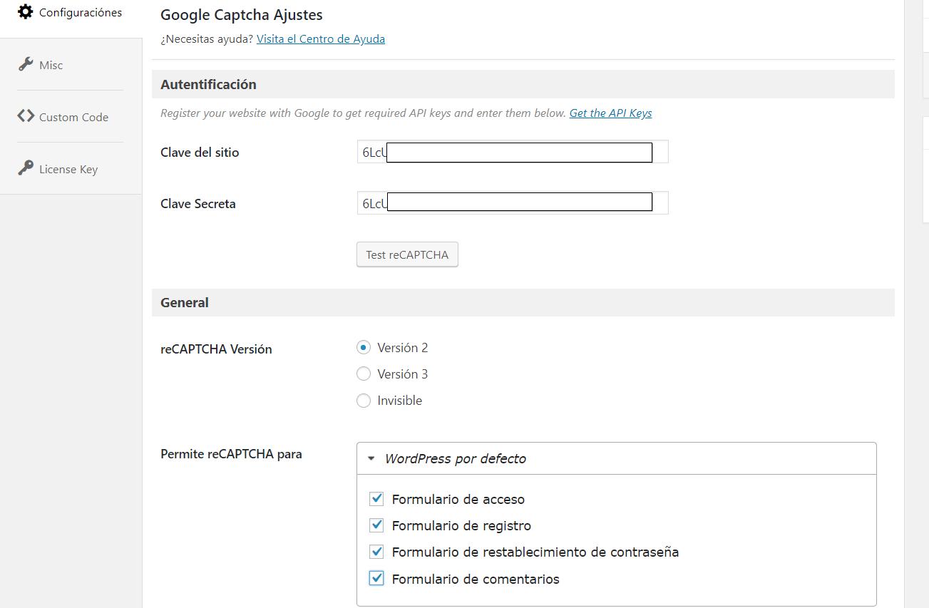 configurar re-captcha en wordpress